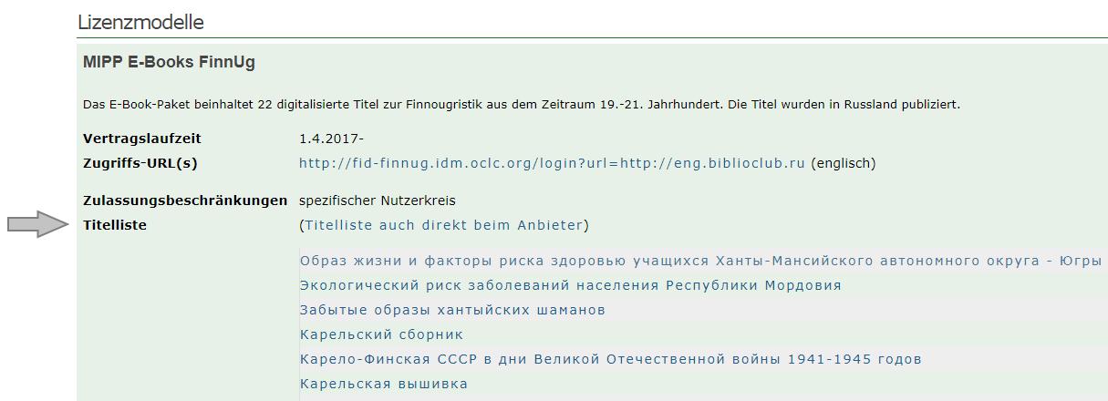 FID - Lizenzen - Titelliste