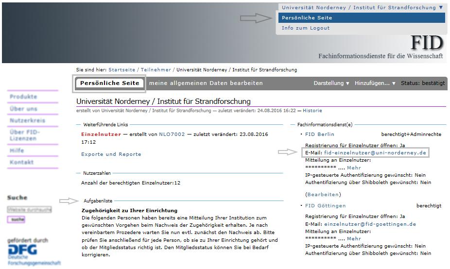 Institution - E-Mail-Adresse für Einzelnutzerregistrierung